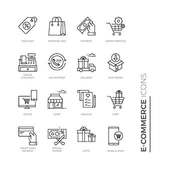 Conjunto simple de icono de comercio electrónico, iconos de línea de vectores relacionados