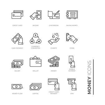 Conjunto simple de icono de dinero, icono de esquema