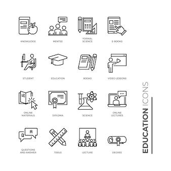 Conjunto simple de icono de educación, iconos de línea de vectores relacionados