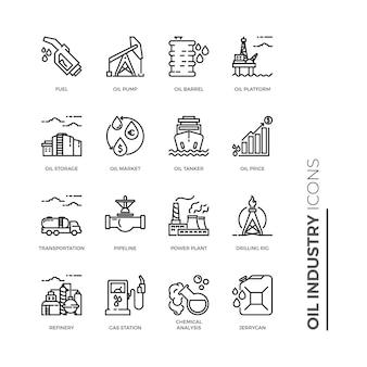 Conjunto simple de icono de la industria petrolera, iconos de línea de vectores relacionados