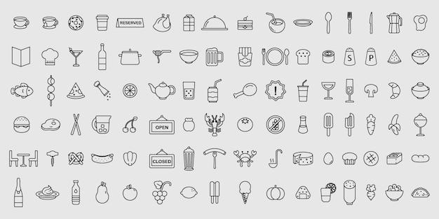 Conjunto simple de iconos de comida y restaurante de delgada línea vector