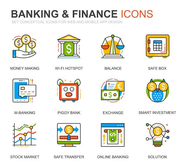 Conjunto simple de iconos de línea de banca y finanzas para sitio web