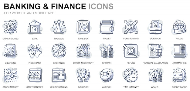 Conjunto simple de iconos de línea de banca y finanzas para sitios web y aplicaciones móviles