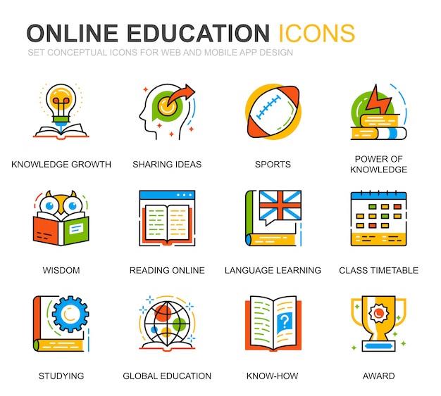 Conjunto simple de iconos de línea de conocimiento y educación para sitio web