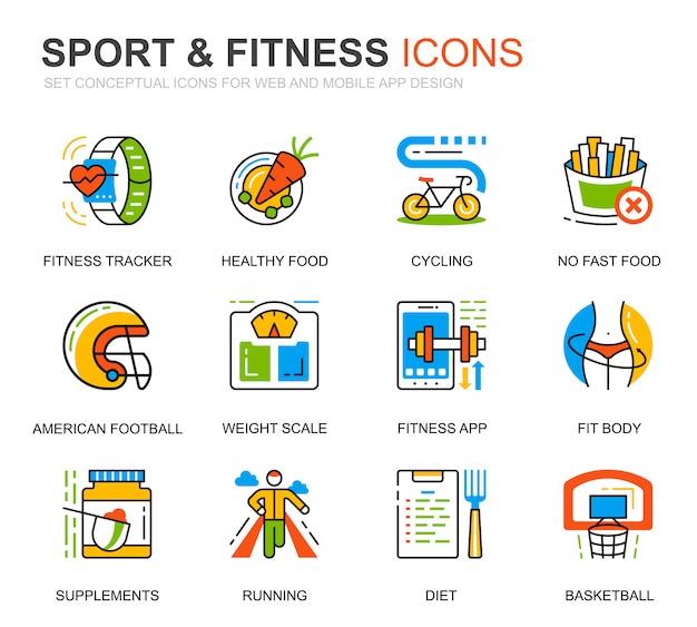 Conjunto simple de iconos de línea de deporte y fitness para sitio web