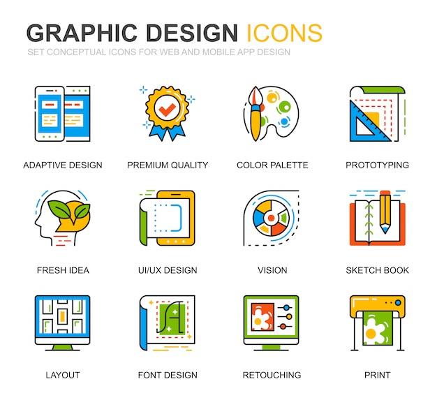 Conjunto simple de iconos de línea de diseño gráfico y web para sitio web