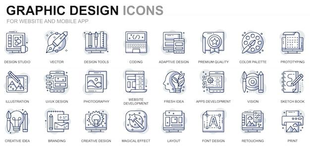 Conjunto simple de iconos de línea de diseño gráfico y web para sitios web y aplicaciones móviles