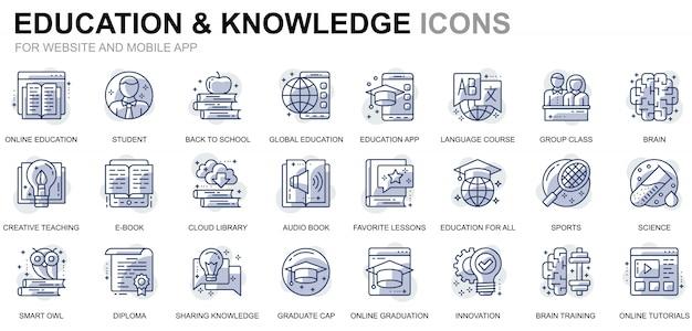 Conjunto simple de iconos de línea de educación y conocimiento para sitios web y aplicaciones móviles