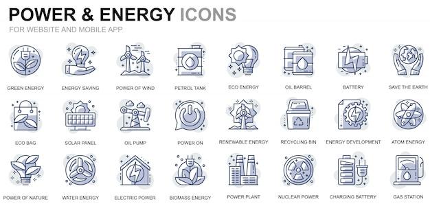 Conjunto simple de iconos de línea de energía e industria energética para sitios web y aplicaciones móviles