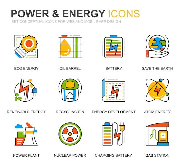 Conjunto simple de iconos de línea de energía e industria de energía para sitio web