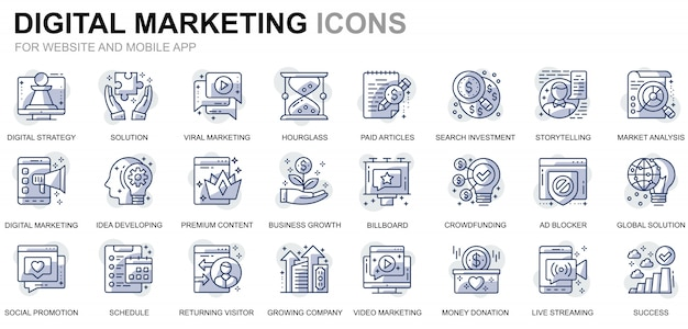 Conjunto simple de iconos de línea de negocios y marketing para sitios web y aplicaciones móviles