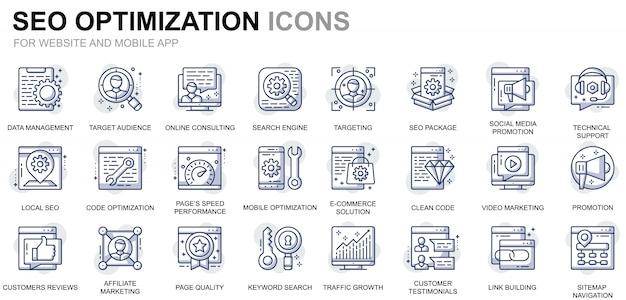 Conjunto simple de iconos de línea de optimización web y seo para sitios web y aplicaciones móviles