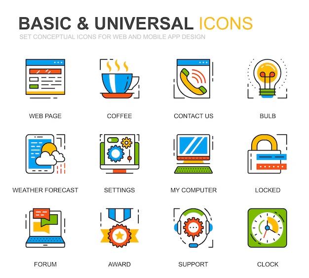 Conjunto simple de iconos de líneas básicas para el sitio web