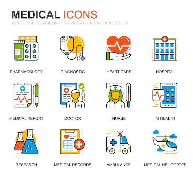 Conjunto simple de iconos de líneas médicas y de atención médica para el sitio web