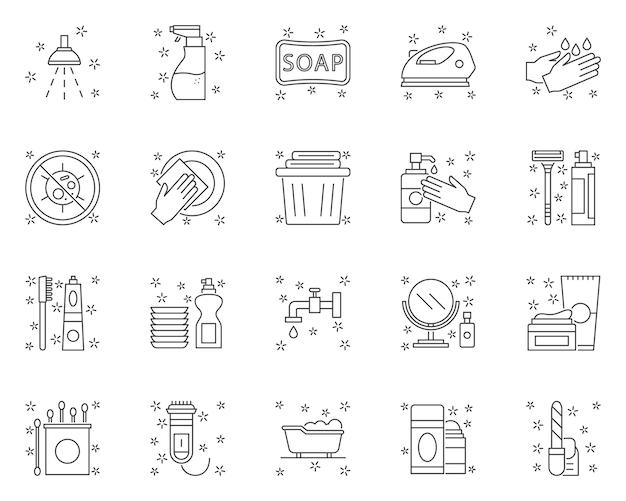 Conjunto simple de iconos de líneas relacionadas con la higiene