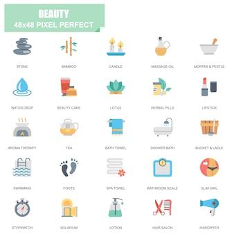 Conjunto simple de iconos planos de vectores relacionados con spa y belleza