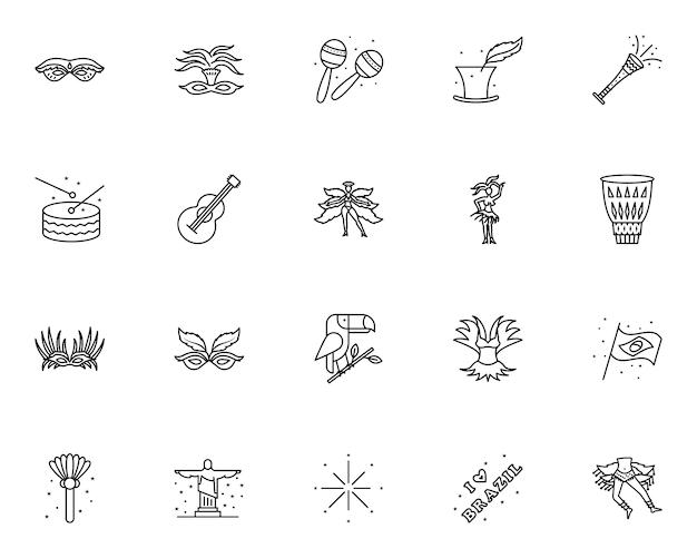 Conjunto simple de iconos relacionados con el carnaval brasileño en estilo de línea