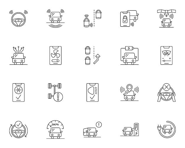 Conjunto simple de iconos relacionados con coches inteligentes en estilo de línea
