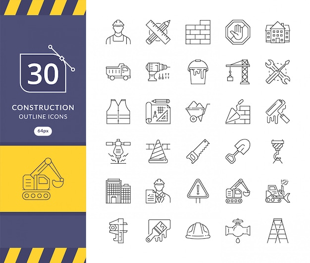 Conjunto simple de iconos relacionados con la construcción