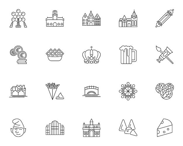 Conjunto simple de iconos relacionados con la cultura belga en estilo de línea