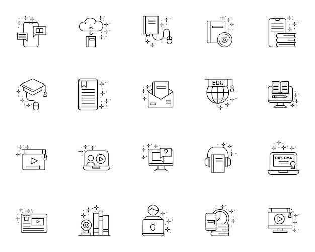 Conjunto simple de iconos relacionados con la educación en línea en estilo de línea