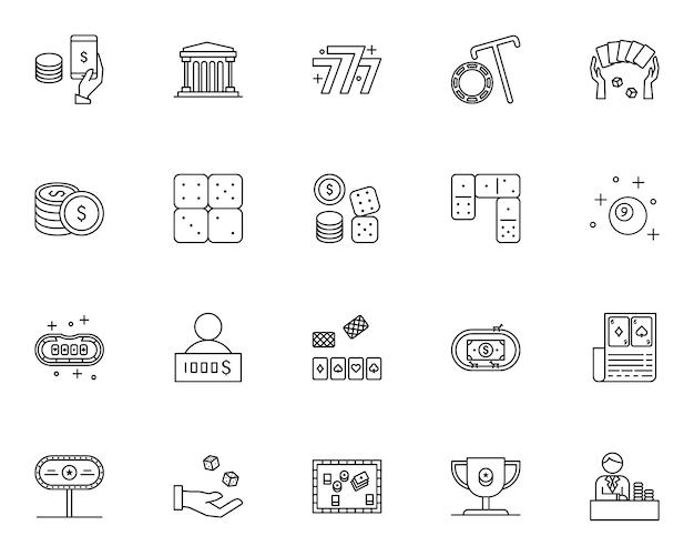 Conjunto simple de iconos relacionados con elementos de casino en estilo de línea