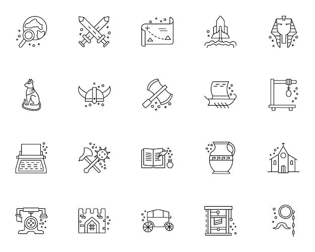 Conjunto simple de iconos relacionados con elementos de historia en estilo de línea