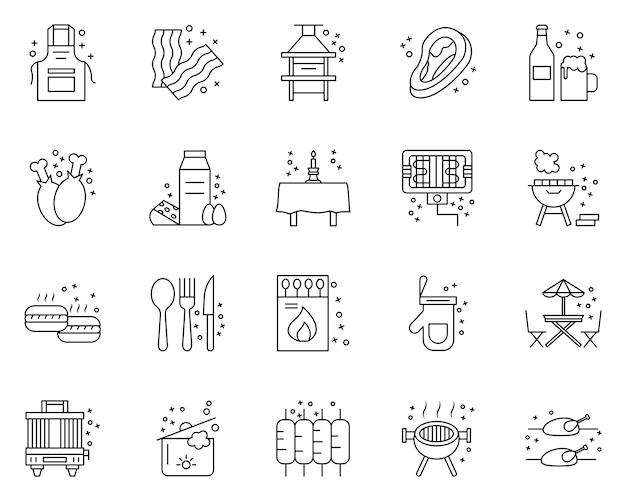 Conjunto simple de iconos relacionados con la fiesta de barbacoa en estilo de línea