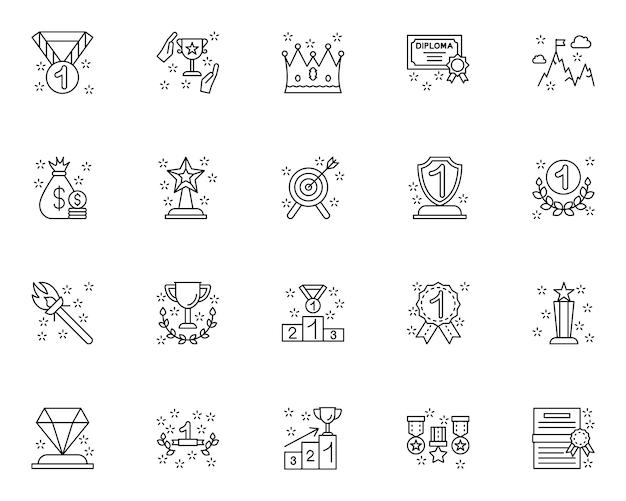 Conjunto simple de iconos relacionados ganadores en estilo de línea