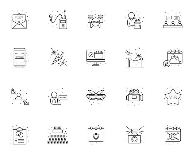 Conjunto simple de iconos relacionados con la gestión de eventos en estilo de línea