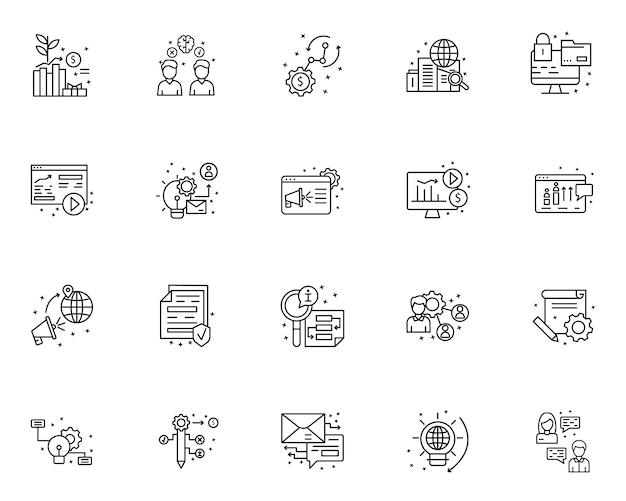 Conjunto simple de iconos relacionados con la gestión de proyectos en estilo de línea