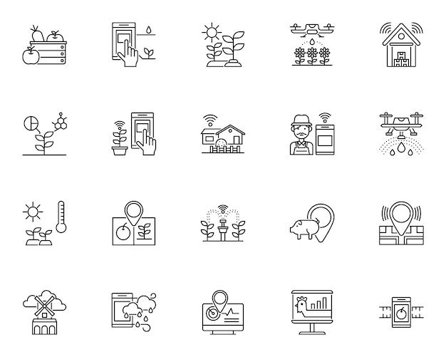 Conjunto simple de iconos relacionados con granjas inteligentes en estilo de línea
