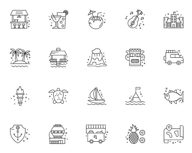 Conjunto simple de iconos relacionados con hawai en estilo de línea