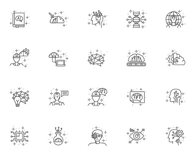 Conjunto simple de iconos relacionados con inteligencia artificial en estilo de línea