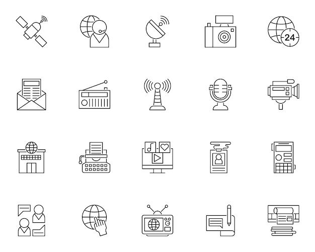 Conjunto simple de iconos relacionados con noticias en estilo de línea