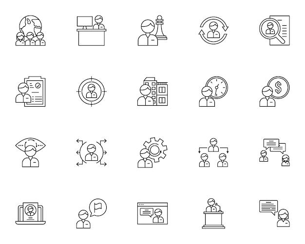 Conjunto simple de iconos relacionados con el reclutamiento en estilo de línea