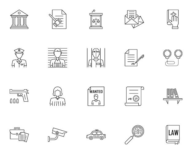 Conjunto simple de iconos relacionados con servicios legales en estilo de línea