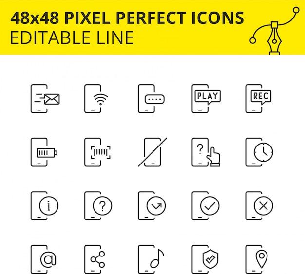 Conjunto simple de iconos relacionados con servicios telefónicos. colección de símbolos de esquema de tecnología móvil. contiene iconos como dispositivos móviles, soporte, carga, sms, etc. pixel perfect. línea. .