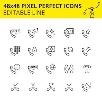 Conjunto simple de iconos relacionados con servicios de teléfonos. colección de símbolos de esquema de tecnología telefónica. contiene iconos como teléfono, soporte, teclado, sms, etc. pixel perfect. carrera. .
