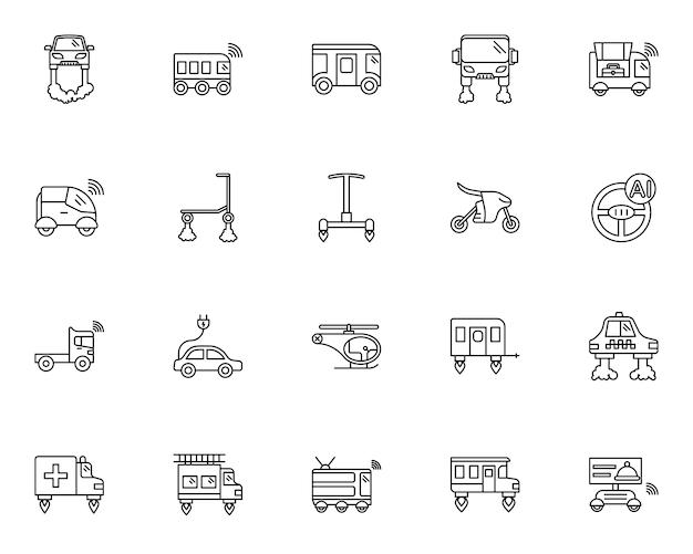 Conjunto simple de iconos relacionados con el transporte futuro en estilo de línea