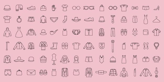 Conjunto simple de iconos de tela y accesorios de línea delgada de vector