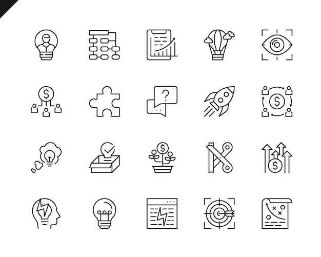 Conjunto simple de inicio de negocios relacionados con línea de iconos de línea.