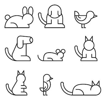 Conjunto simple de línea relacionada con mascotas