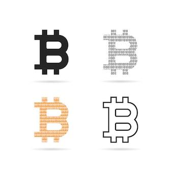 Conjunto simple de logo de bitcoin con sombra. concepto de peering, pago privado, swap cerrado, código uno cero, p2p, criptografía. ilustración de vector de diseño de marca moderna de tendencia de estilo plano sobre fondo blanco