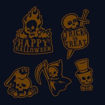 Conjunto simple de logo de cráneo de halloween