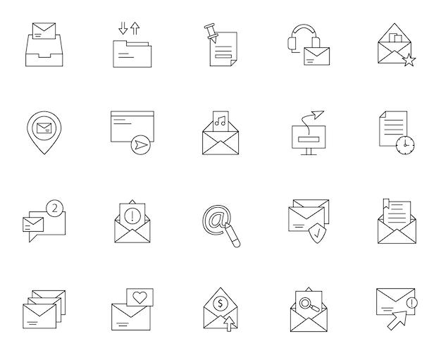 Conjunto simple de mensajes relacionados con iconos de correo electrónico en estilo de línea