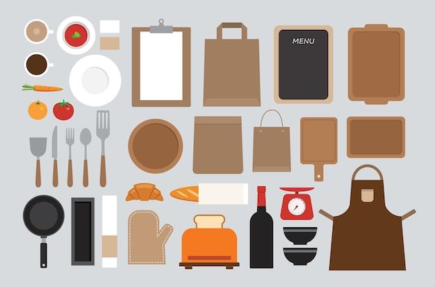 Conjunto de simulacro de diseño plano de herramienta de cocina