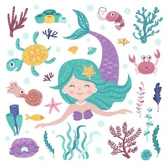 Conjunto de sirena linda, algas y habitantes marinos