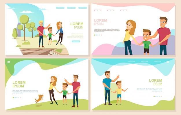 Conjunto de sitios web de vector de feliz paternidad e infancia