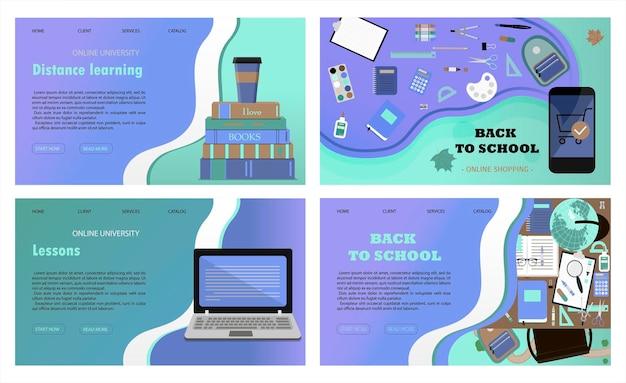 Un conjunto de sitios web de vectores para el aprendizaje a distancia, la educación en línea y el trabajo una ilustración plana